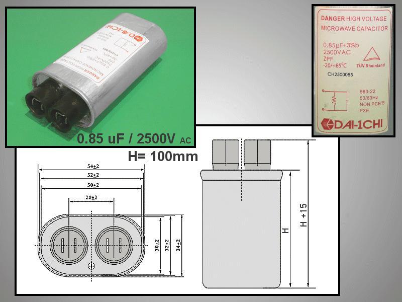 H.V. kondenzátor 0.85uF 2500VAC MW-C0.85
