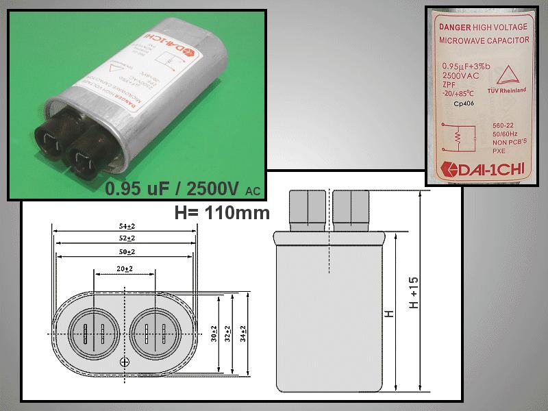 H.V. kondenzátor 0.95uF 2500VAC MW-C0.95/2