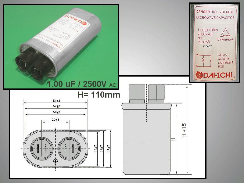 H.V. kondenzátor 1.00uF 2500VAC MW-C1.00/2