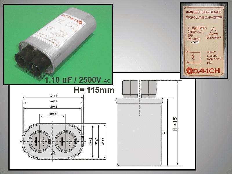 H.V. kondenzátor 1.10uF 2500VAC MW-C1.10/2