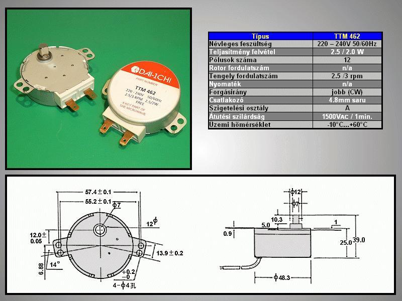 Szinkron motor 230VAC 2.5/2 W TTM462 MW-M021