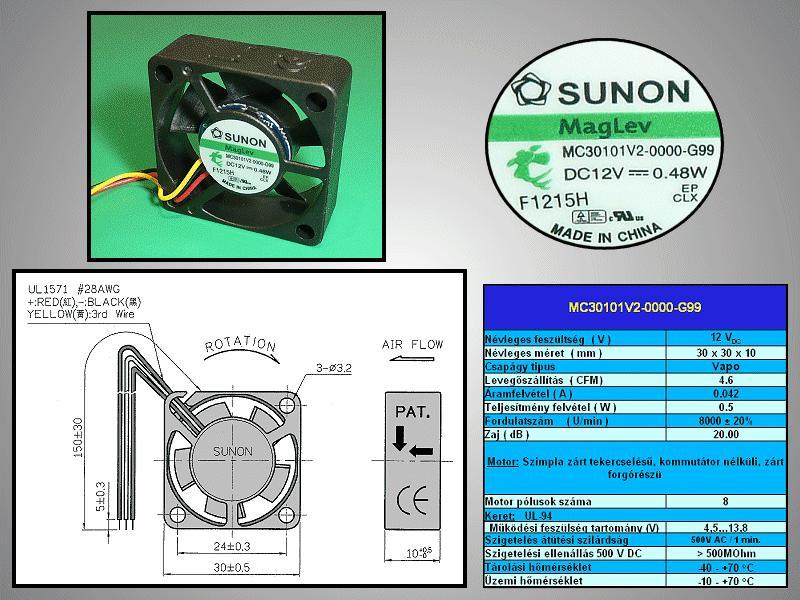 12V ventilátor 30x30x10 MC30101V2-G99 CY 3010/12-V2-G99