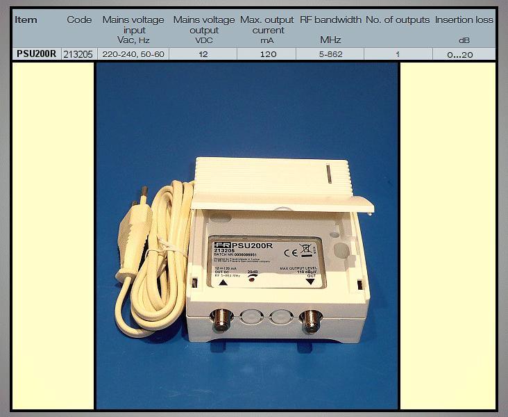 Antenna tápegység 12V 1 kimenet, 20dB szab. ANT PWR PSU200R