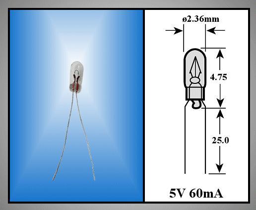Izzó 2.36x4.75mm 5V 60mA WT (rizs) LAMP 110/1