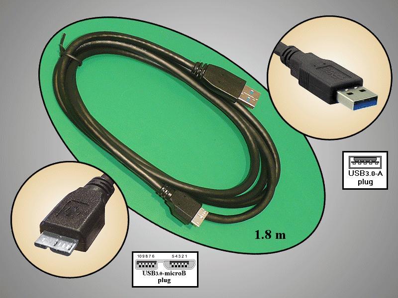 USB3.0-A dugó <-> USB3.0-Mikro dugó, Kábel 1.8m CABLE-1132-1.8