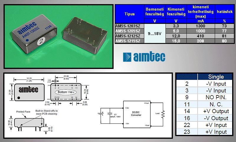 DC/DC átalakító be: 12V ki: 3.3V 1250mA DC12-03S/5W