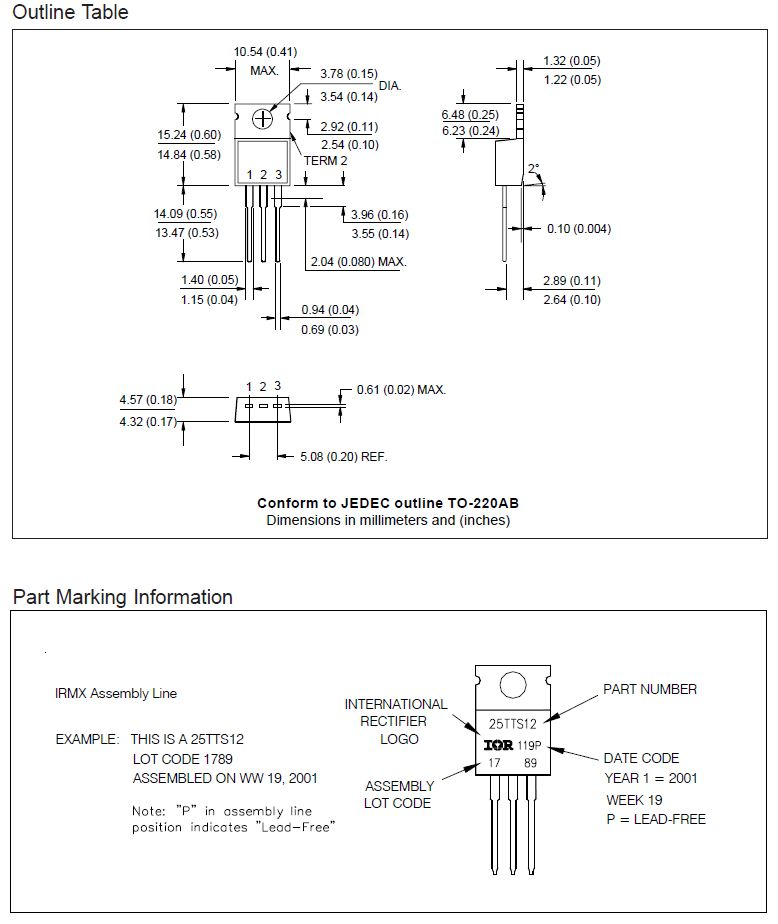 Tirisztor 1200V 16A/300Ap Igt:45/60mA Ih:100mA 25TTS12 -