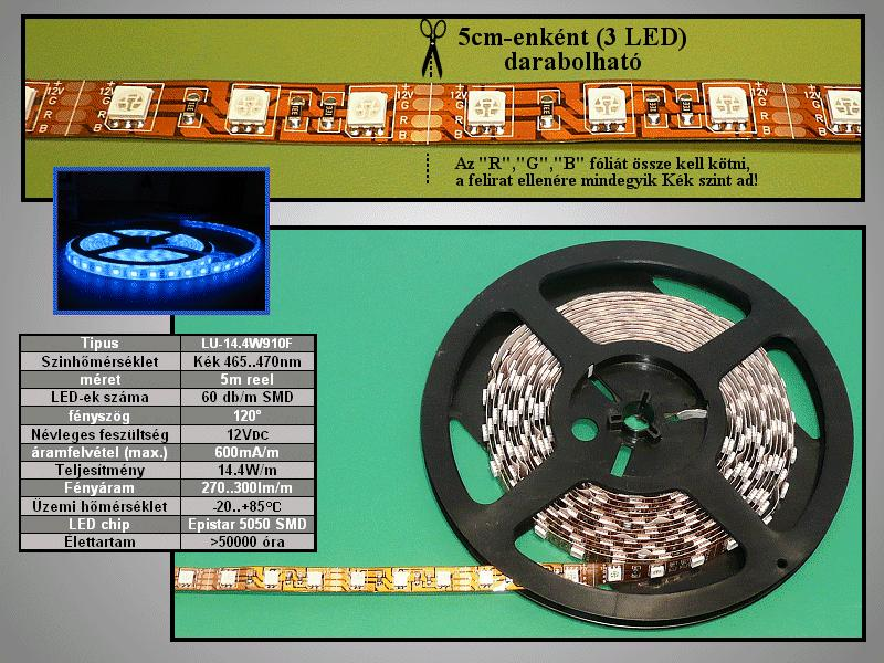 5050 LED szalag, kék (60LED/m) RIBBON-B001N5