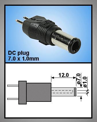 Tápegység csatlakozó, dugó 7.0x1.0 mm P.SUP.0052/15