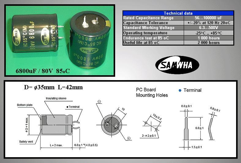 ELKO 6800uF 80V 85°C 35x40 Snap-In 2p. 6800/80P -