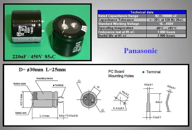 ELKO 220uF 450V 85°C 30x25 Snap-in 220/450P 30X25