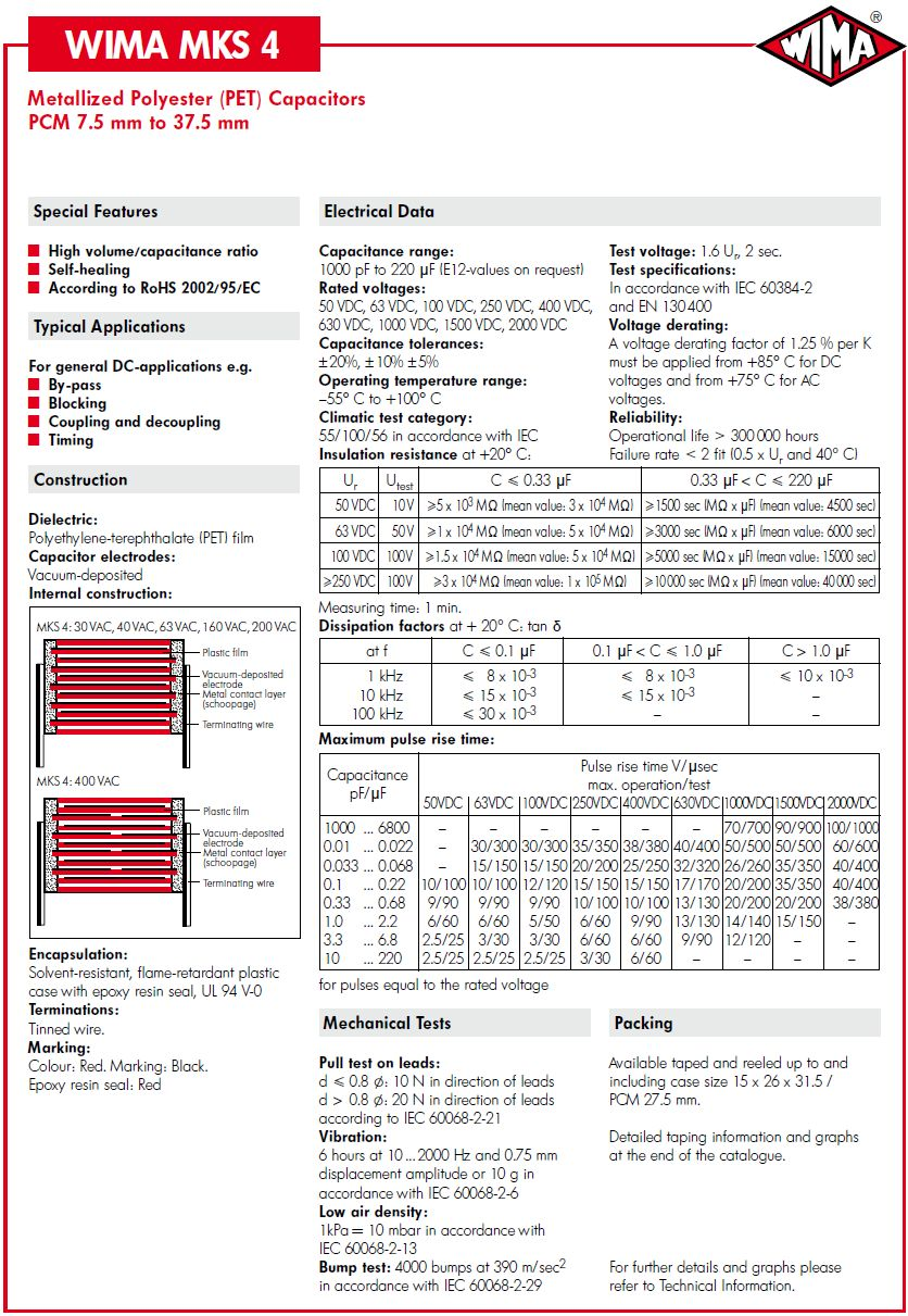 Kondenzátor 10uF 100V 10% Poliészter RM-27.5 C 10U 100/MKT6