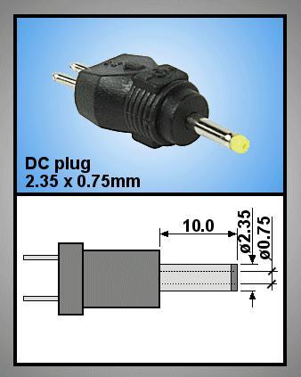 Tápegység csatlakozó, dugó 2.35x0.75 mm P.SUP.0052/16