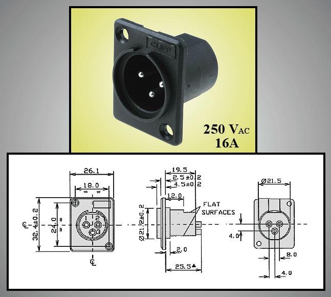 XLR dugó, fekete 3p. 5A (beépithető) XLR-3CP3000