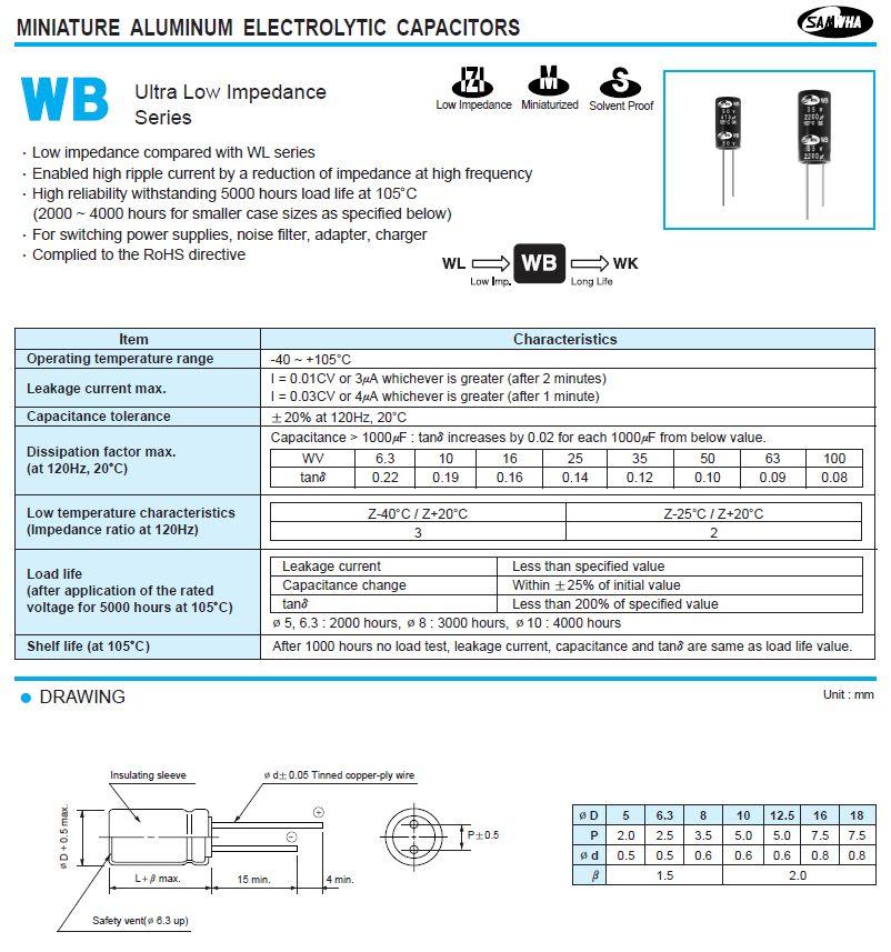ELKO 1000uF 35V 105°C 12x25 Low-Esr WB 1000/35P-105ESR S -