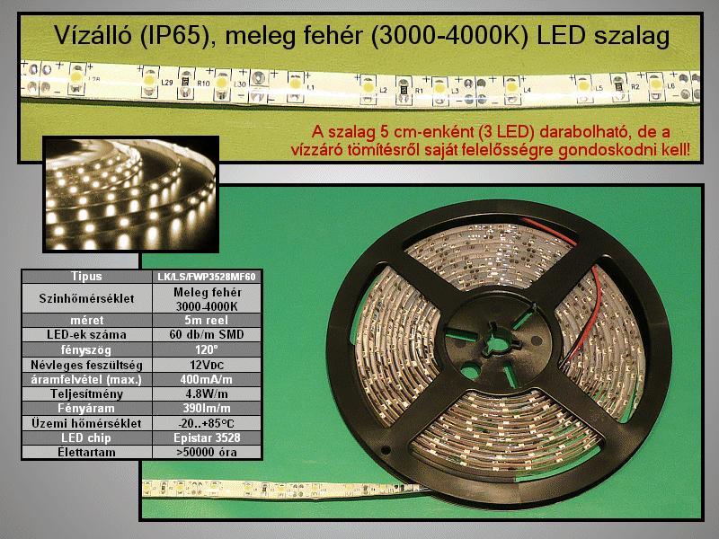 IP65 vízálló 3528 LED szalag, melegfehér (60LED/m) 7mm széles RIBBON-WW001WF
