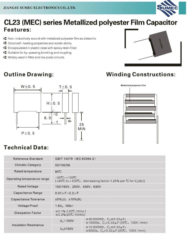 Kondenzátor 1uF 250V 10% Poliészter RM-15 C 1U0 250/MKT