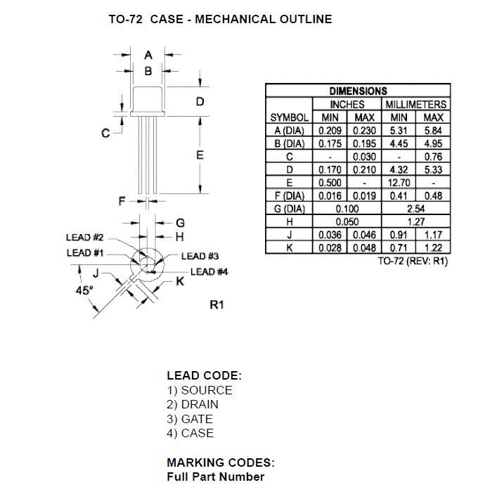N-FET 50V Idss:2mA Vgs(off):6V 2N3822 -
