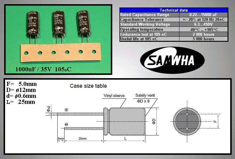 ELKO 1000uF 35V 105°C 12x25 Low-Esr WB 1000/35P-105ESR S