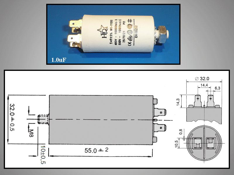 Szűrő kondenzátor 1uF 450VAC W0-C001/450