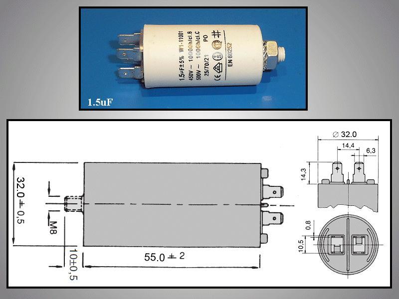 Szűrő kondenzátor 1.5uF 450VAC W0-C0015/450