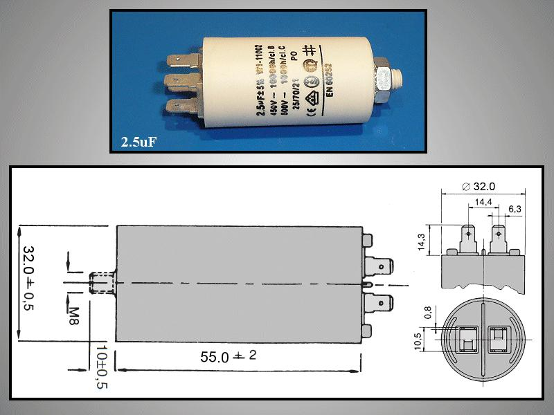Szűrő kondenzátor 2.5uF 450VAC 5% 30x57 W0-C0025/450