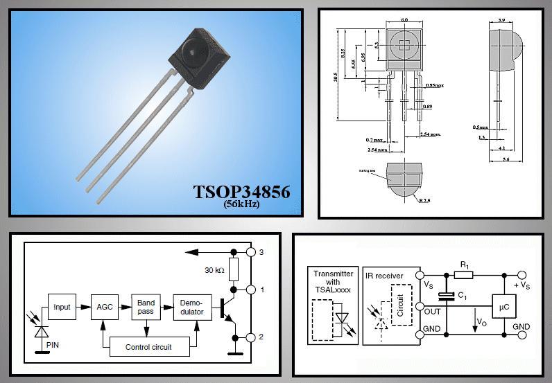 IR RECEIVE BLOCK 56KHz 950nm 3p. TSOP34856