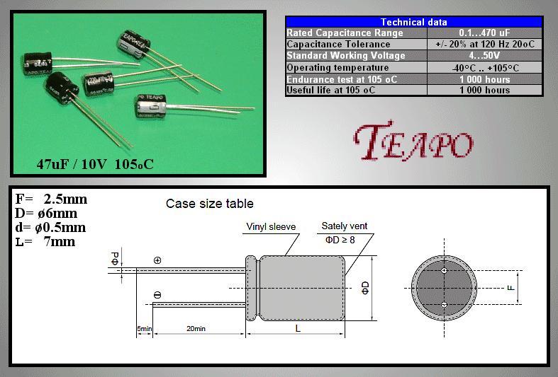 ELKO 220uF 10V 105°C 6x7 álló 220/10P 6X7-105
