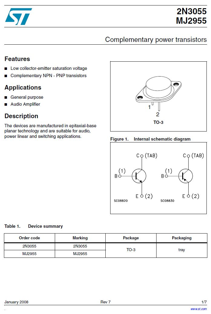 Tranzisztor NPN 100/70V 15A 115W >2.5MHz 2N3055-ST 2N3055-ST -