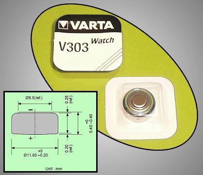 1.55V 170mAh óraelem Silver SR44 VARTA-V303