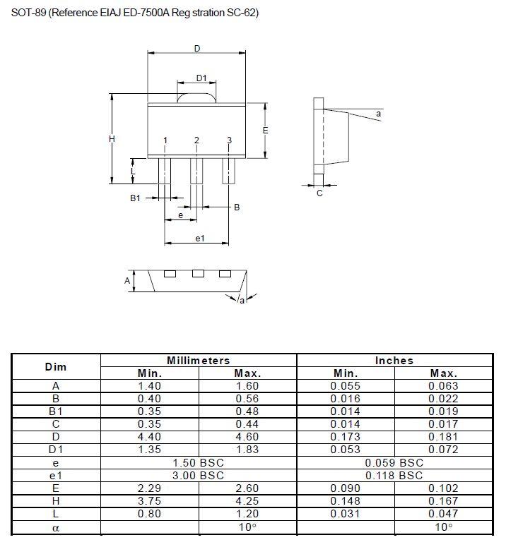 Tranzisztor PNP SMD 30V 4A 120MHz NF/S 2SB1073 2SB1073 -