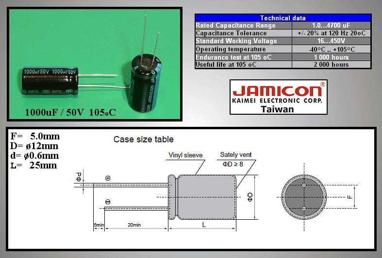 ELKO 1000uF 50V 105°C 12.5x25 álló 1000/50P-105 X -