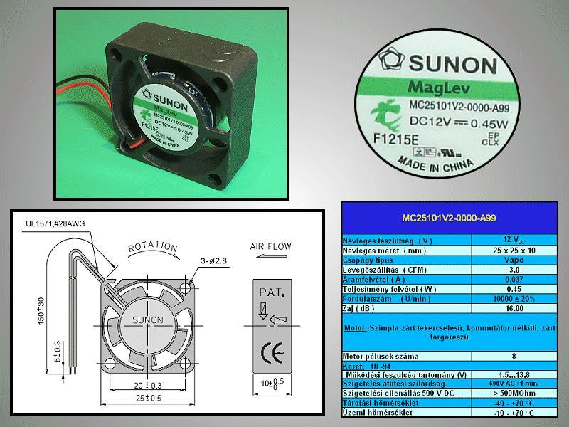 12V ventilátor 25x25x10 MC25101V2-A99 CY 2510/12V2A99