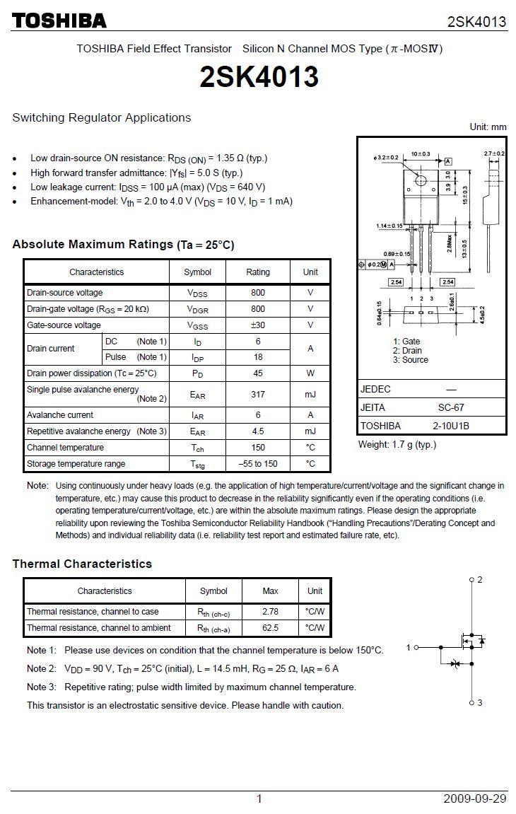 Tranzisztor N-MOSFET+Z 800V 6A/18Ap. 45W 1.35R 2SK4013(Q) 2SK4013(Q) -