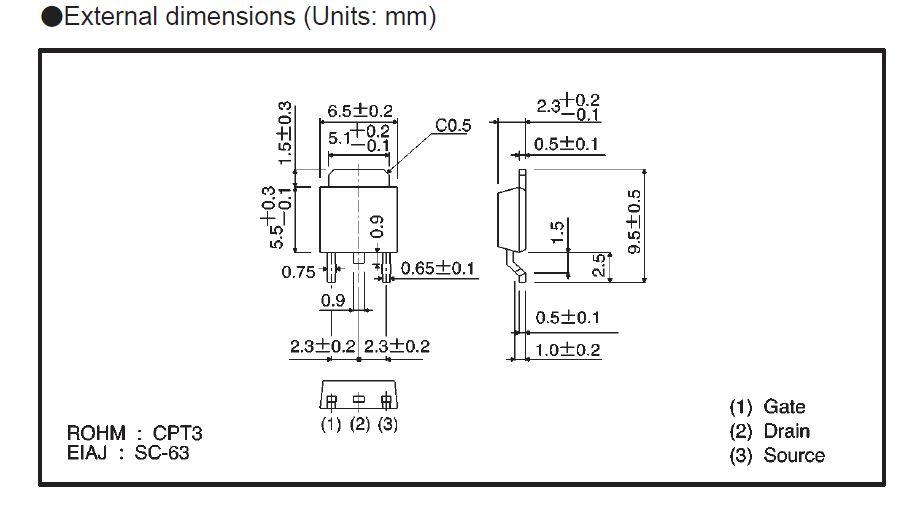 Tranzisztor N-MOSFET SMD 500V 2A/6Ap. 20W 3R 2SK2715TL 2SK2715TL -