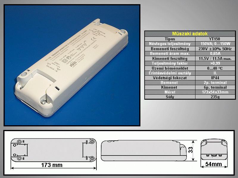 Tápegység halogén lámpához 150W LAMP 02/12/150