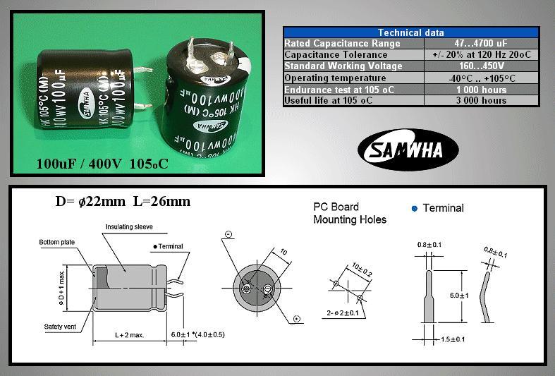 ELKO 100uF 400V 105°C 22x25 Snap-in 100/400P-105