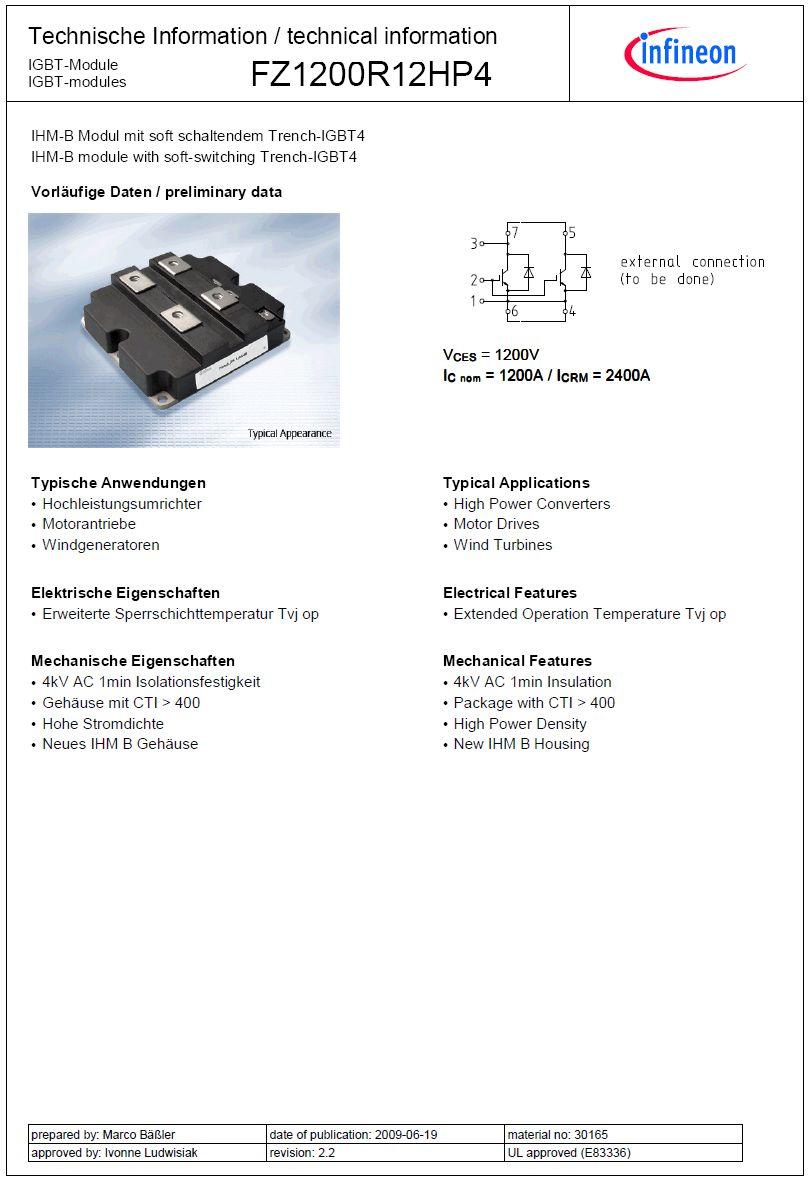 N-IGBT+D 1200V 1760A/2400Ap. 7,15KW (Tc=100°C 1200A) FZ1200R12HP4