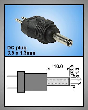 Tápegység csatlakozó, dugó 3.5x1.3mm P.SUP.0052/08