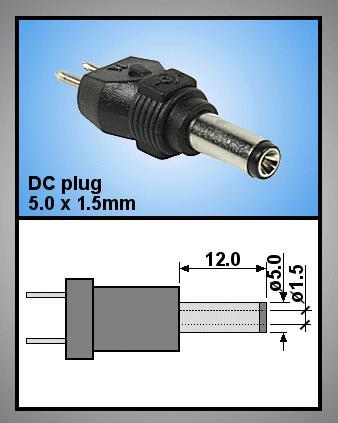 Tápegység csatlakozó, dugó 5.0x1.5mm P.SUP.0052/11