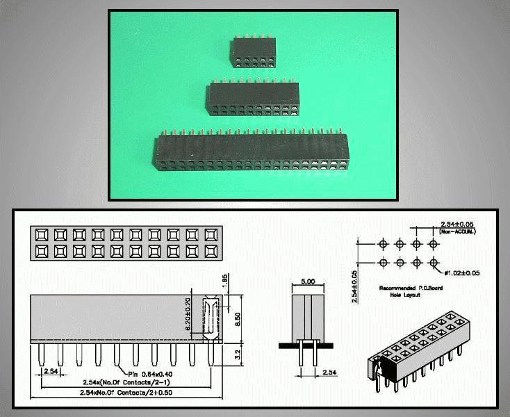 Kétsoros csatlakozó aljzat 2x7p. táv. 2.54mm CSAT-11014/DA