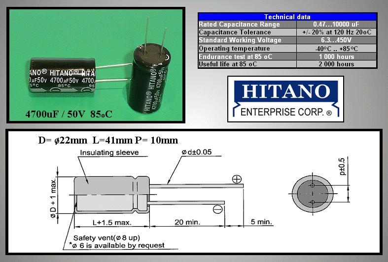ELKO 4700uF 50V 85°C 22x41 álló 4700/50P H -