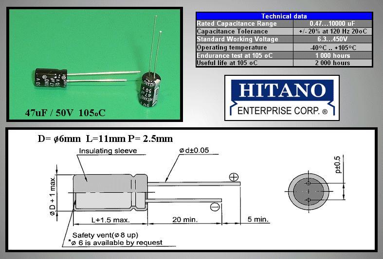 ELKO 47uF 50V 105°C 6.3x11 álló 47/50P-105 H