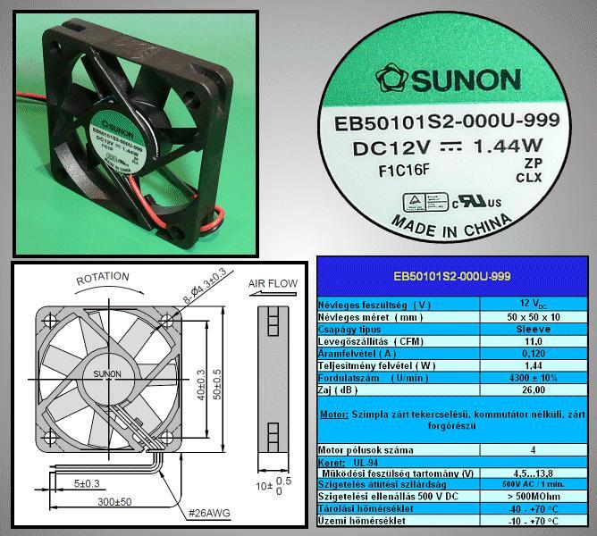 12V ventilátor 50x50x10 EE50101S2-999 CY 5010/12-S2-999
