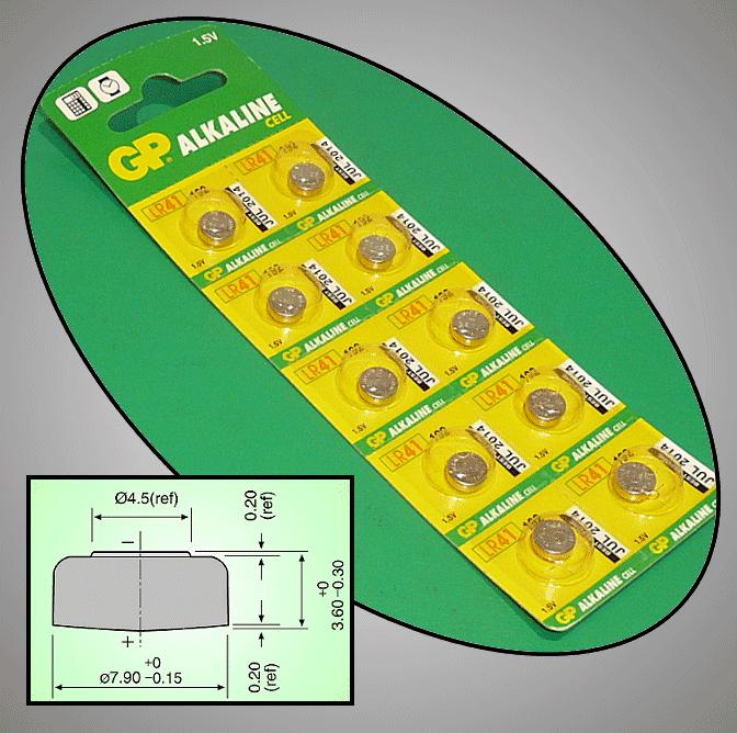1.5V Alkáli elem 192A (AG3) 7.9x3.6mm GP BAT LR41 GP.