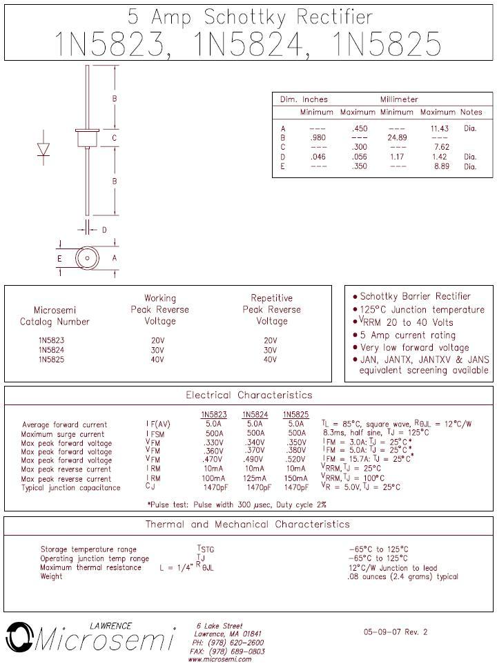 SB-D SCHOTTKY 40V 5A/500Ap Vf:0.35V(3A, 25°C) 1N5825