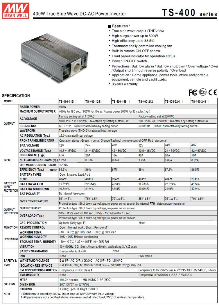 24VDC -> 230VAC 400W inverter (szinuszos) P.SUP.INV0400S2
