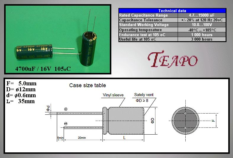 ELKO 4700uF 16V 105°C 13x36 Low-ESR álló 4700/16P-105ESR T