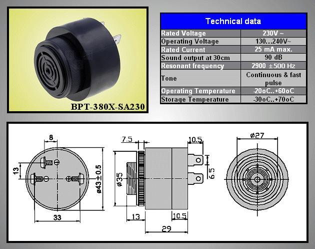 PIEZO BUZZER BPT-380XSA230VAC BZ-30 AC230V