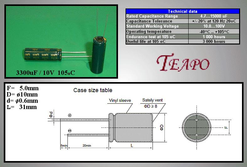 ELKO 3300uF 10V 105°C 10x30 Low-ESR 3300/10P-105ESR T -